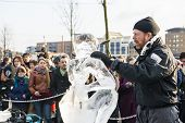 LONDON, UK - JANUARY 13: Artists compete in the freestyle category at the London Ice Sculpture Festi