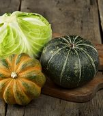 Squash And Cabbage On A Cutting Board