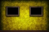 Old Wooden Frames On Yellow Retro Grunge Wall