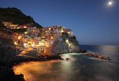 Manarola at Night. Cinque Terre, Italy,
