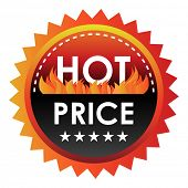 Hot fiery price discount label.