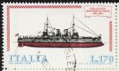 ITALY �?�¢?? CIRCA 1978: a stamp printed in Italy shows image of  Battleship Benedetto Brin (Ital