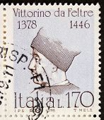 ITALY - CIRCA 1978: a stamp printed in Italy shows  portrait of  Vittorino da Feltre (1378 �?�¢?? 1446), Italian humanist and teacher. Italy, circa 1978