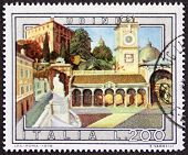 ITALY �?�¢?? CIRCA 1978 a stamp printed in Italy shows an illustration of Udine, Piazza della Lib