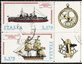ITALY �?�¢?? CIRCA 1978: a block of two stamps printed in Italy shows illustrations of  battleshi