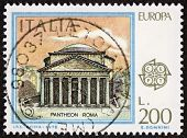ITALY �?�¢?? CIRCA 1978: a stamp printed in Italy shows illustration of the Pantheon, temple in R