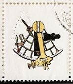 ITALY �?�¢?? CIRCA 1978: a stamp printed in Italy shows illustration of  an old sextant. Italy, circa 1978
