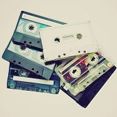 pic of magnetic tape  - Vintage looking A magnetic audio tape cassettes for music recording - JPG
