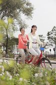 picture of tandem bicycle  - Grandmother and granddaughter riding tandem bicycle - JPG