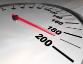 pic of mph  - A white automobile speedometer with red needle pushing toward 200 - JPG