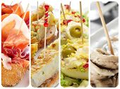 a collage with different spanish tapas, such as pincho de tortilla, pincho de jamon, stuffed eggs or boquerones