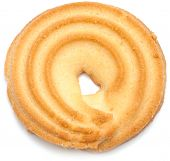 stock photo of shortbread  - sweet shortbread ring biscuit isolated on white - JPG