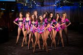 Ten beautiful showgirls in purple costumes posing on stage poster