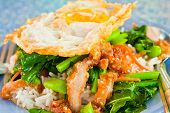 Thai Food, Kana Moo Krob.(fried Kale Mixed Crispy Pork And Egg On Rice)