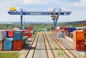 NYRANY, CZECH REPUBLIC - MAY 25: Big container terminal on a railroad with open storage area 50 000s