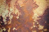 stock photo of oxidation  - Old and Rusty metal plate - JPG