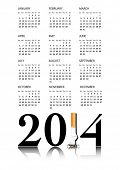 New Year resolution Quit Smoking Calendar with the 1 in 2014 being replaced by a stubbed out cigarette. EPS10 vector format.