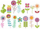 Vector Collection of Funky Retro Stylized Flowers