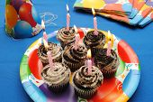 Lit Candles on Cupcakes