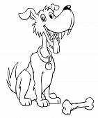 Black and white cartoon dog with bone