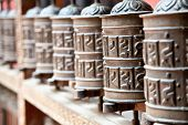 Prayer wheels in Rudra Varna Mahavihar temple in Patan. Lalitpur. Nepal.