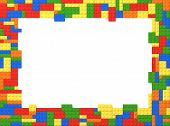 stock photo of brick block  - Random Colors Toy Bricks Picture Frame with white background - JPG