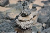 picture of st ives  - Balanced stones and pebbles on the beach in St Ives Cornwall - JPG
