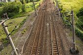 Railroad between meadow in Taiwan, Asia.