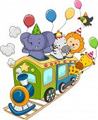 Illustration of Jungle Animals Holding Party Balloons Riding a Locomotive Train