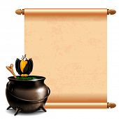 Witches cauldron with potion and magic scroll isolated on white background