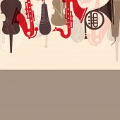 Musical concept with musical instruments,  can be use as poster, banner for flyer for music concerts