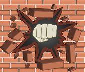 stock photo of clenched fist  - Fist breaking through red brick wall   - JPG