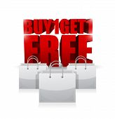 Buy One And Get One Shopping Bag Illustration