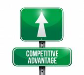 picture of differential  - competitive advantage road sign illustration design over a white background - JPG