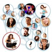 Happy young woman with her social network friends and business partners in a circle diagram, over wh