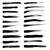 Vector set of grunge watercolor brush strokes.  Black collection of black vector oil paint brush str