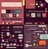 Flat Web Design and Infographics Elements set. Buttons, icons, frames, speech bubbles, diagrams, cha