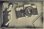 Vintage Paper Picture With Old Camera