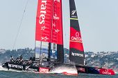 SAN FRANCISCO, CA - SEPTEMBER 12: The Emirates Team New Zealand sailboat competes in the America's Cup sailing races in San Francisco, CA on September 12, 2013