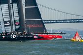 SAN FRANCISCO, CA - SEPTEMBER 12: Oracle Team USA crosses finish line in the America's Cup race in S