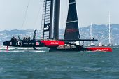 SAN FRANCISCO, CA - SEPTEMBER 12: Oracle Team USA competes in the America's Cup sailing races in San