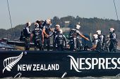 SAN FRANCISCO, CA - SEPTEMBER 12: Emirates Team New Zealand celebrates after winning their America's