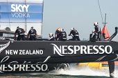 SAN FRANCISCO, CA - SEPTEMBER 12: Emirates Team New Zealand competes in the America's Cup sailing ra