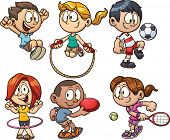 stock photo of cartoons  - Cartoon kids playing - JPG