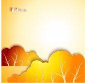 Abstract autumn landscape. Paper design background.