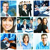 Businessman and businesswoman collage background. Teamwork.