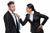Two business people debate and fight, isolated on white. Concept of competition and job competitive promotion