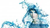 Beautiful woman face with water. Purity concept background.