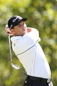 Sep 15, 2013; Lake Forest, IL, USA; Sergio Garcia tees off the sixth hole during the third round of