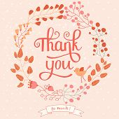 Thank you card in pink colors. Stylish floral background with text and cute cartoon bird in vector